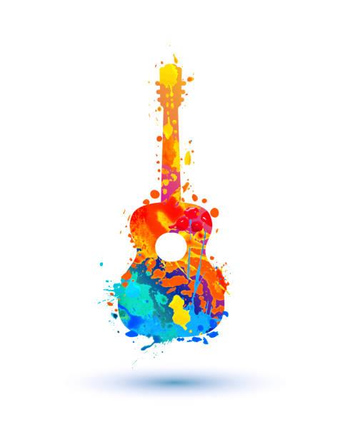 stockillustraties, clipart, cartoons en iconen met gitaar van aquarel splash paint - gitaar