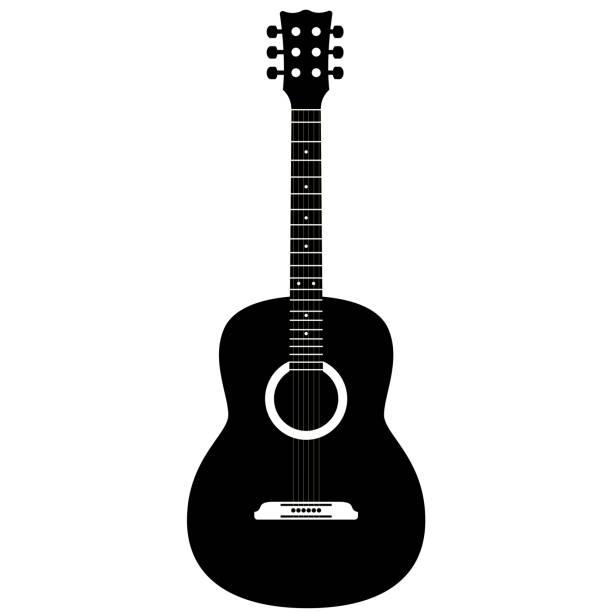 stockillustraties, clipart, cartoons en iconen met gitaar op een witte achtergrond - gitaar