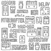 Guitar pedals. Hand drawn. Vector illustration.