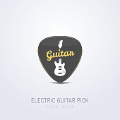 Guitar pick with text and electric guitar icon vector illustration