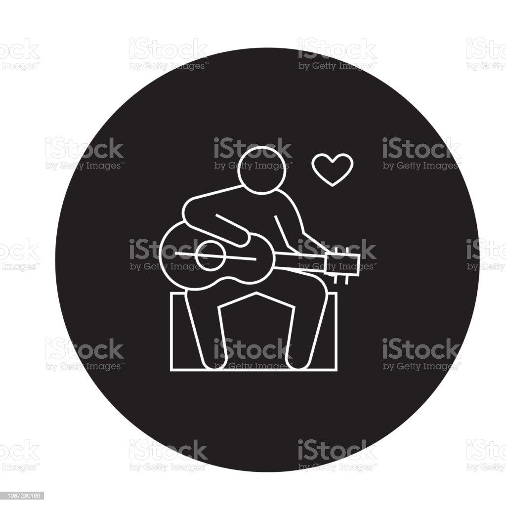 Guitar player black vector concept icon. Guitar player flat...