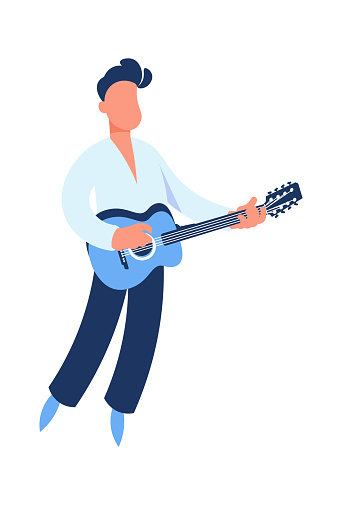 Guitar player. Cartoon guitarist playing music. Man holding string acoustic instrument. Cute performer. Musician standing on stage. Jazz or rock band singer. Vector musical festival