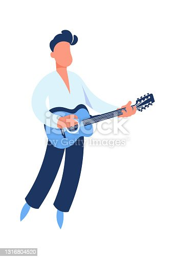 istock Guitar player. Cartoon guitarist playing music. Man holding string acoustic instrument. Cute performer. Musician standing on stage. Jazz or rock band singer. Vector musical festival 1316804520