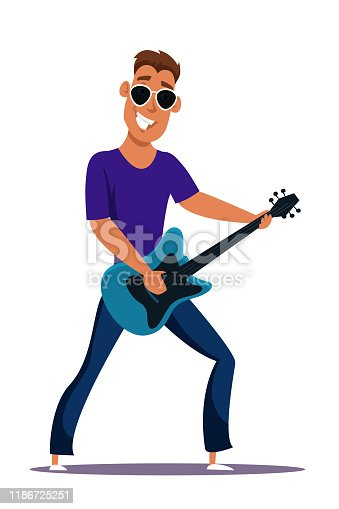 istock Guitar player flat vector character 1186725251
