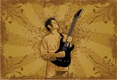 Guitar Player - Gold, Built in layers for easy editing. High res JPG included