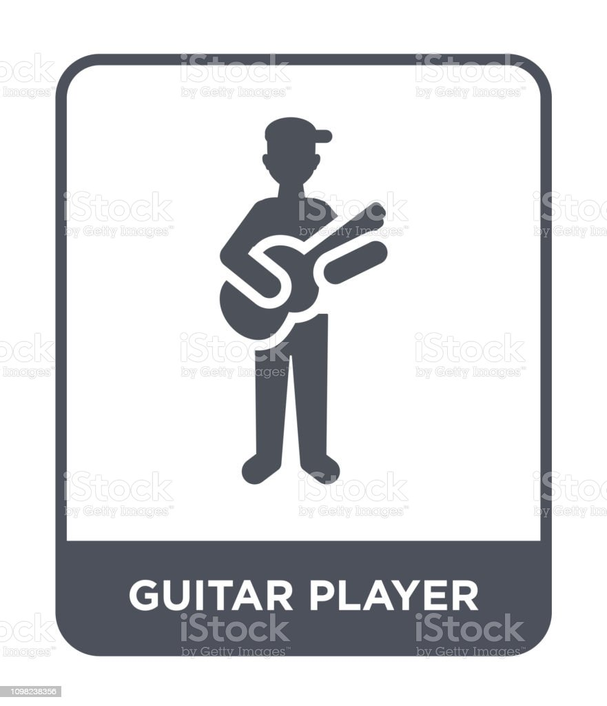 guitar player icon vector on white background, guitar player trendy...