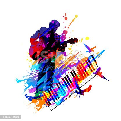 Classical music festival background with guitar player. Digital painting. Vector illustration