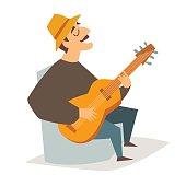 Guitar player vector illustration. Musician man with guitar