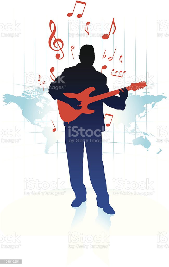 Guitar Player with world map background royalty-free guitar player with world map background stock vector art & more images of adult