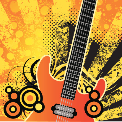 Electric guitar with grunge background and retro elements.