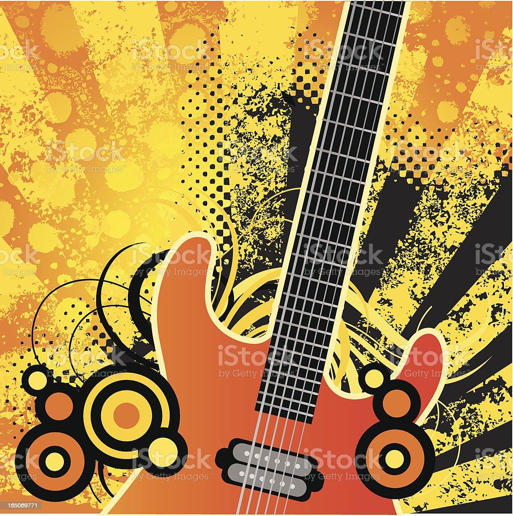 Guitar retro vector art illustration