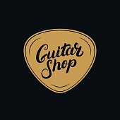 Guitar shop hand written lettering emblem, label, badge.