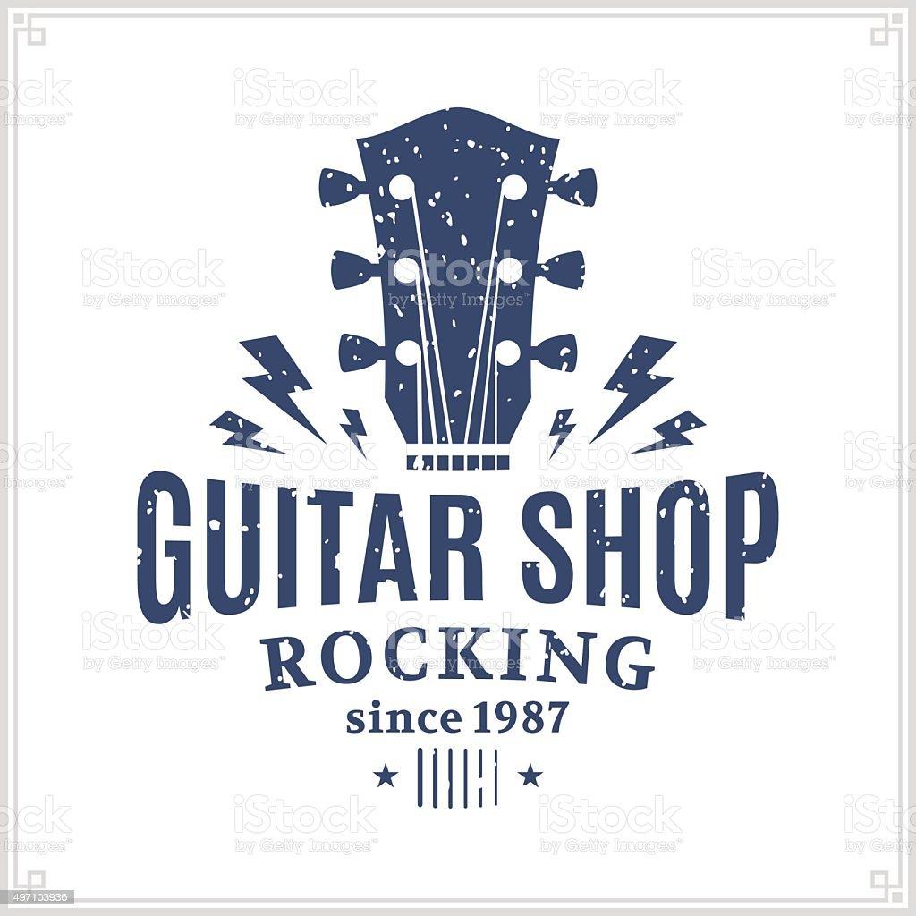 Guitar Shop Label royalty-free guitar shop label stock illustration - download image now