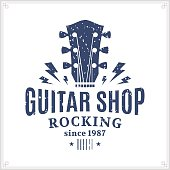 Retro styled guitar shop label template. Music icon for audio store, branding and identity.