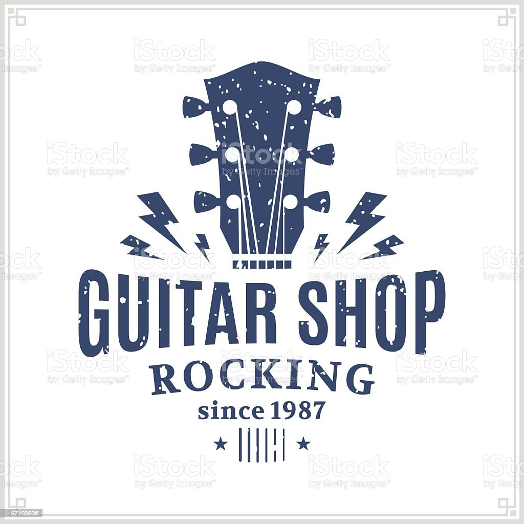 Guitar Shop Label vector art illustration