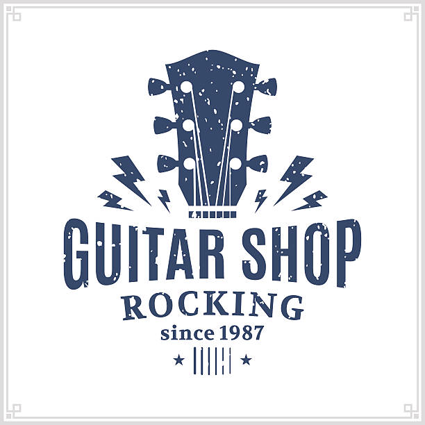 Guitar Shop Label Retro styled guitar shop label template. Music icon for audio store, branding and identity. rock music stock illustrations