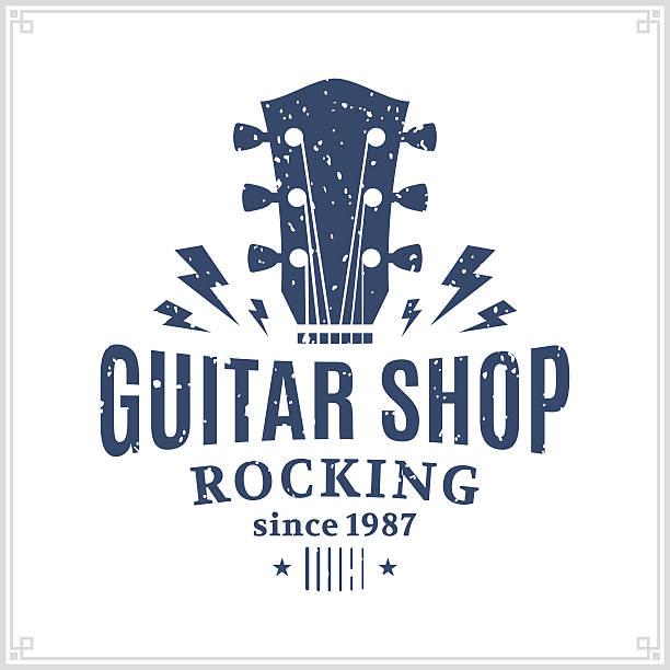 stockillustraties, clipart, cartoons en iconen met guitar shop label - gitaar