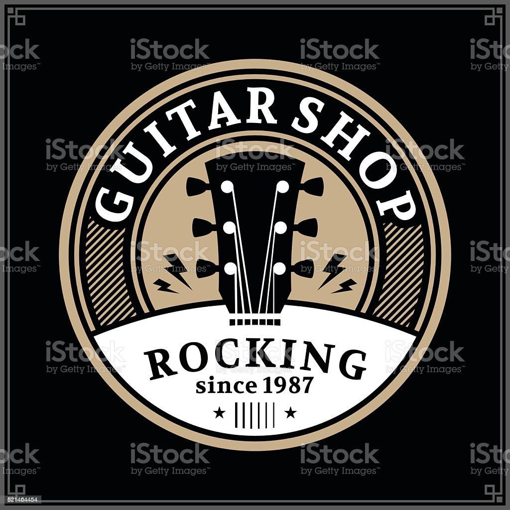 Guitar Shop Label vector art illustration