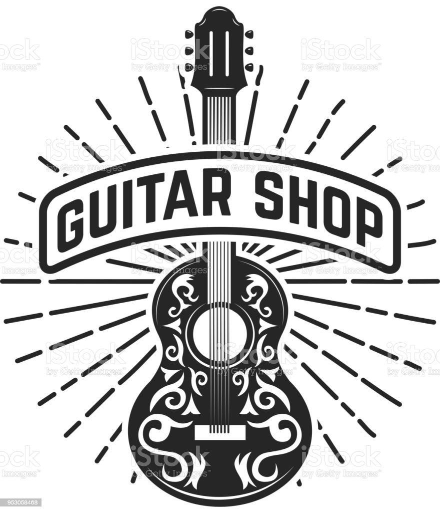 Royalty Free Drawing Of A Acoustic Guitar Tattoo Designs Clip Art