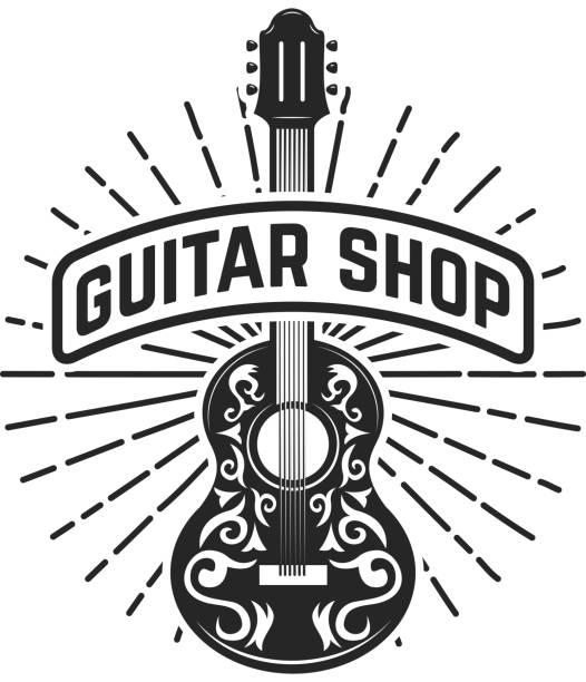 guitar shop. rock and roll. design element for  label, emblem, sign. - gitara stock illustrations