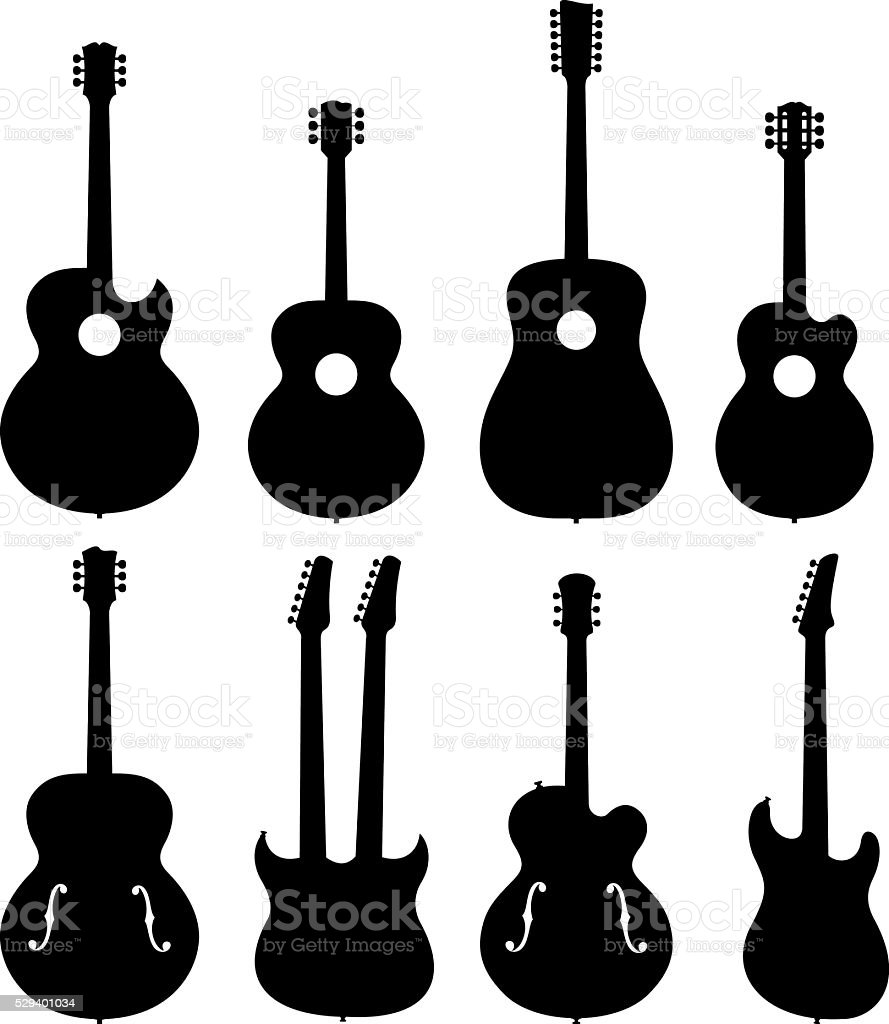 Guitar Silhouettes Set vector art illustration