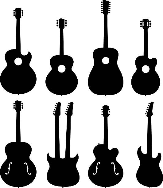 stockillustraties, clipart, cartoons en iconen met guitar silhouettes set - gitaar