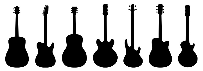 Guitar silhouettes set.Acoustic and heavy rock electric guitars musical instruments. Simple set of electric guitar vector icons for web design. Music symbols collection.Vector ilustration
