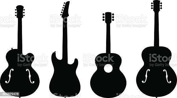 Vector Illustration of Various Types of no brand Guitar Silhouettes