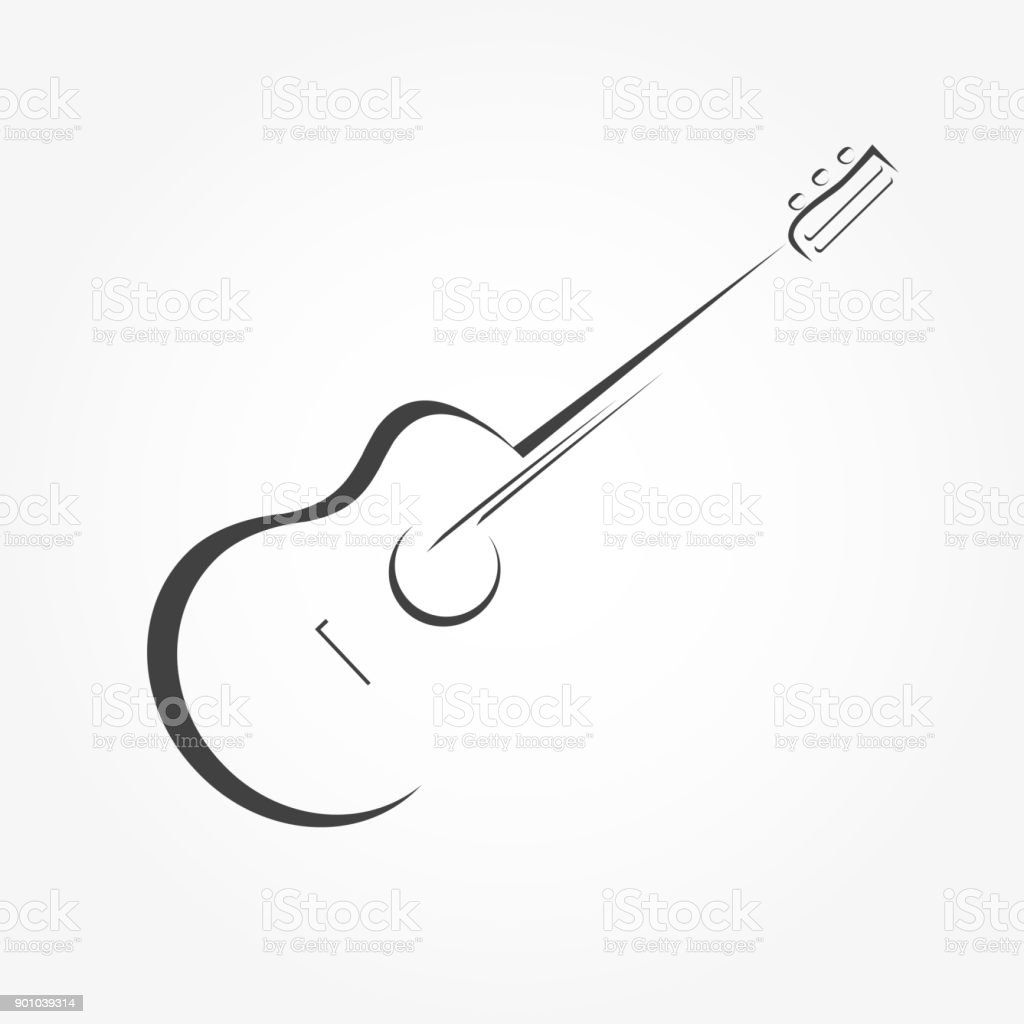 Guitar stylized icon vector vector art illustration