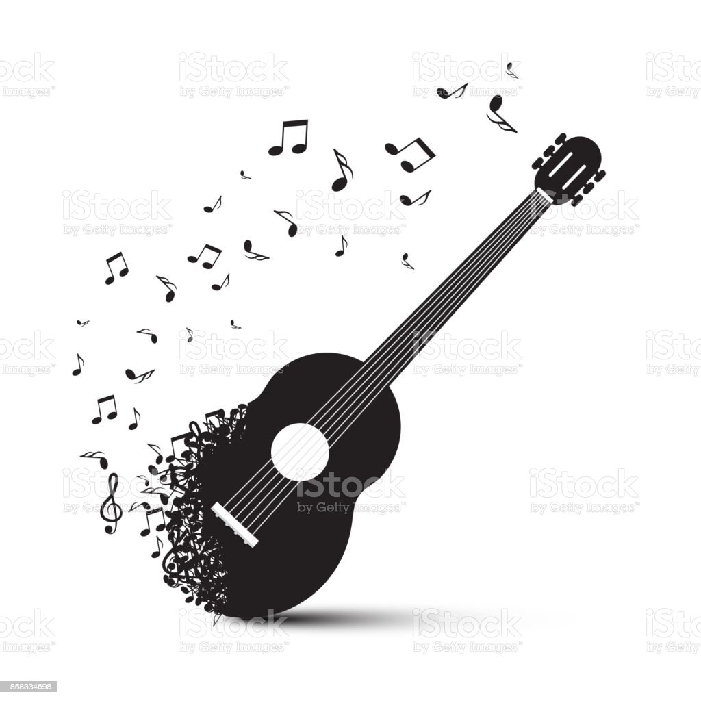 Guitar Symbol with Notes vector art illustration