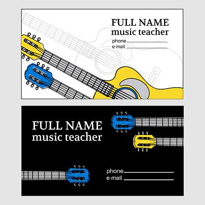 MUSIC BUSINESS CARD Guitar Teacher Vector Illustration Set
