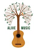 Guitar tree live music quote concept illustration