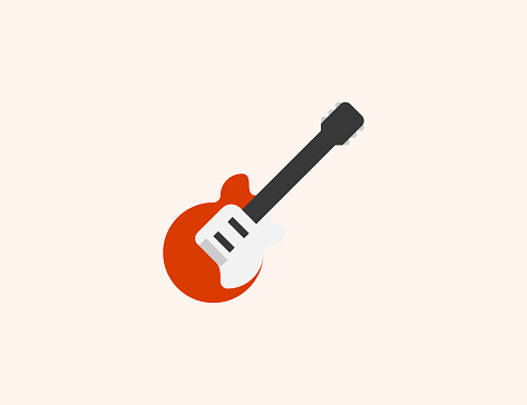 Guitar vector icon. Isolated Electric Guitar flat colored symbol
