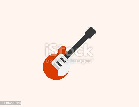 istock Guitar vector icon. Isolated Electric Guitar flat colored symbol 1285092728