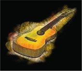 Sketchy guitar, high detail - vector illustrations