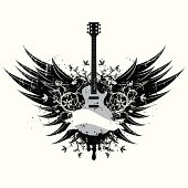 An electric guitar between a set of wings with black spray paint, florals and grunge effects. The artwork is on separately labeled layers.