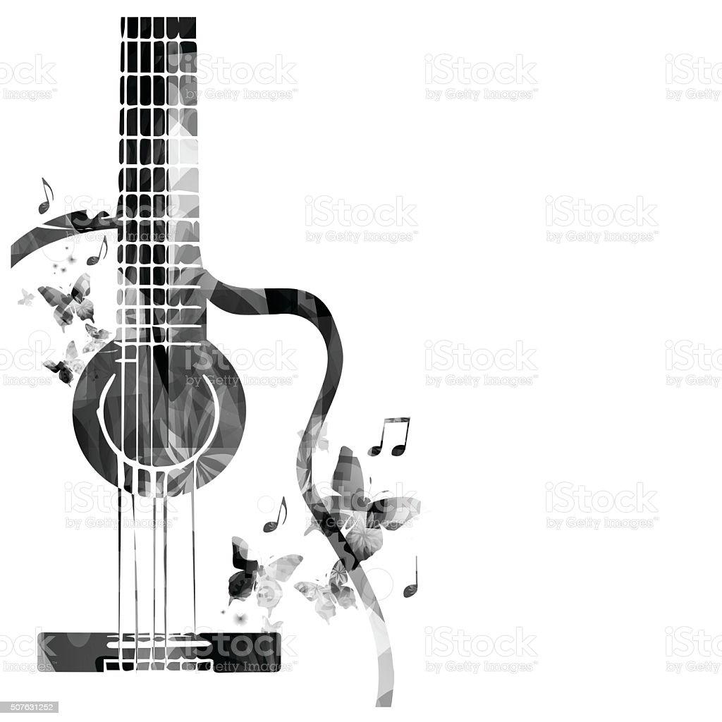 Guitar with butterflies design vector art illustration