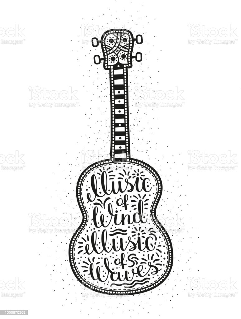 Royalty Free Silhouette Of The Acoustic Guitar Tattoo Designs Clip