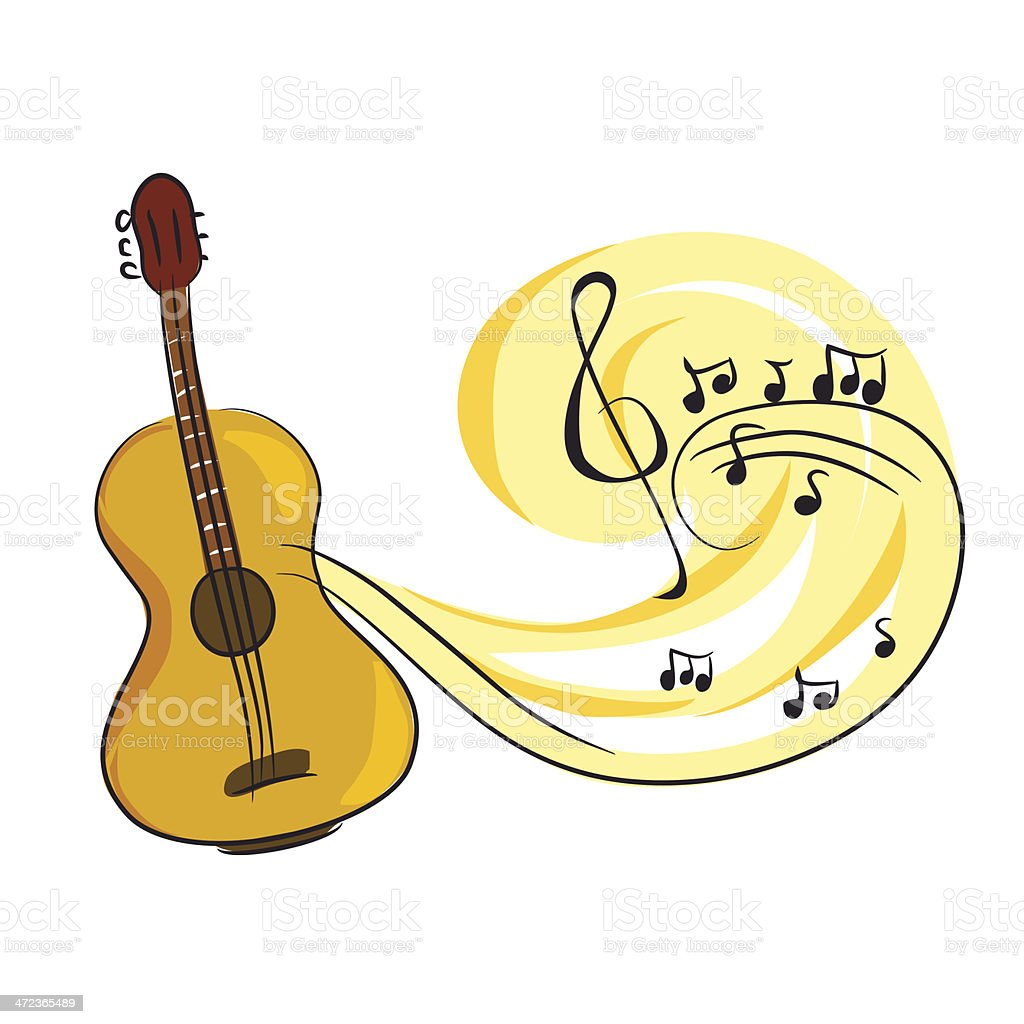 Guitar With Music Notes Stock Vector Art More Images Of Acoustic