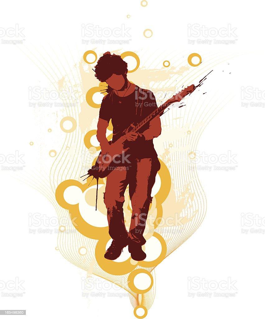 Guitarist over bubbles vector art illustration
