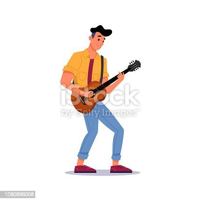 istock Guitarist playing guitar isolated man with stringed musical instrument. Vector male musician gives performance with electric string guitar, rock and roll singer hobby. Adult player in casual cloth 1280896058