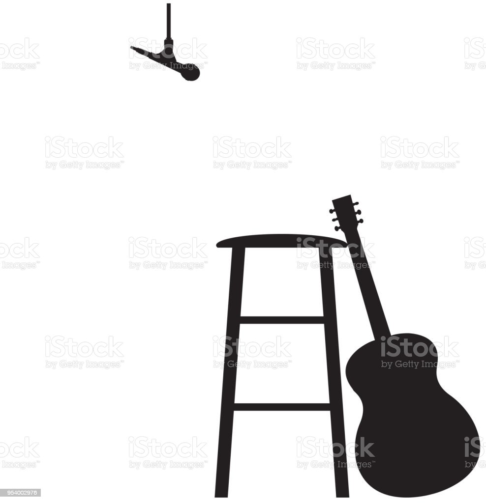 Brilliant Guitarist Recording Session Stool Set Up Silhouette Stock Onthecornerstone Fun Painted Chair Ideas Images Onthecornerstoneorg