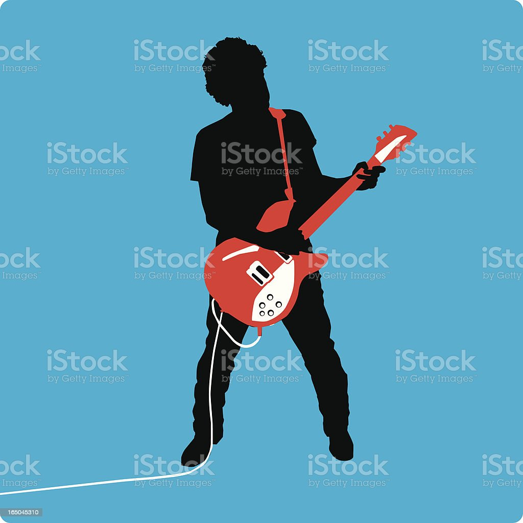 Guitarist Silhouette on Blue Background (vector illustration) royalty-free guitarist silhouette on blue background stock vector art & more images of amplifier