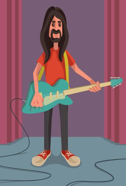 Guitarist vector art illustration