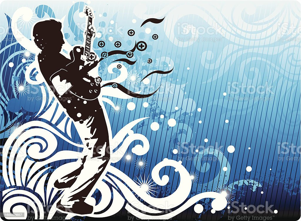 Guitarist with design royalty-free stock vector art