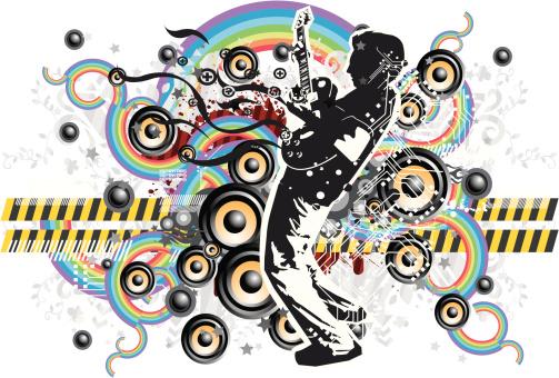 guitarist with techno design