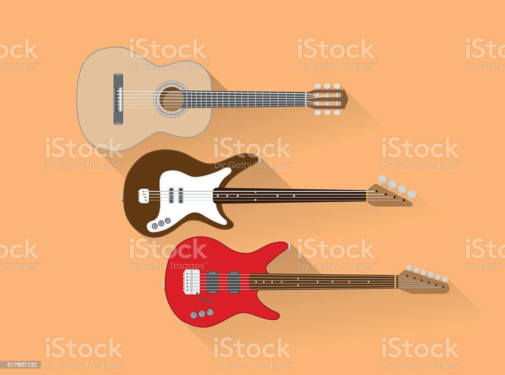 Guitars vector art illustration