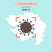 Map of Gujarat with a cell of the novel coronavirus (COVID-19, 2019-nCoV) in the center of a red viewfinder. White map isolated on a blue green background. (colors used: blue, green, red and black). Conceptual image: coronavirus detected, closing of borders, area under control, stop coronavirus, defeat the virus, quarantined area, spread of the disease, coronavirus outbreak on the territory, virus alert, danger zone, confined space. Vector Illustration (EPS10, well layered and grouped). Easy to edit, manipulate, resize or colorize.