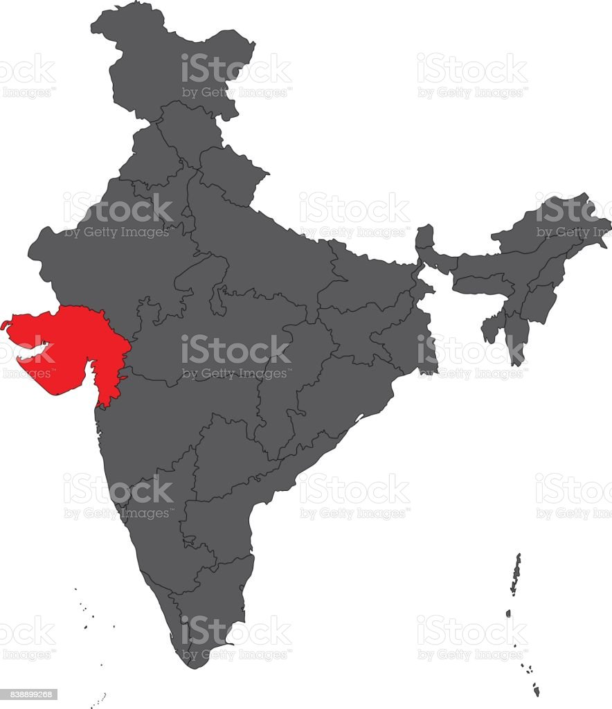 Plain Map Of India.Gujarat Red On Gray India Map Vector Stock Vector Art More Images