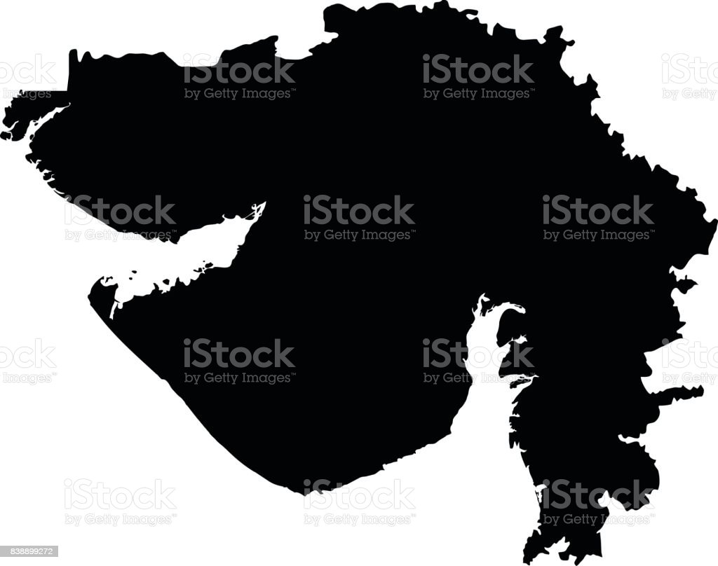 Gujarat Red On Gray India Map Vector Royalty Free Gujarat Red On Gray India  Map